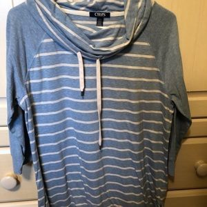 Chaps blue and white pullover